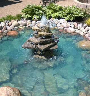 rock fountain pond